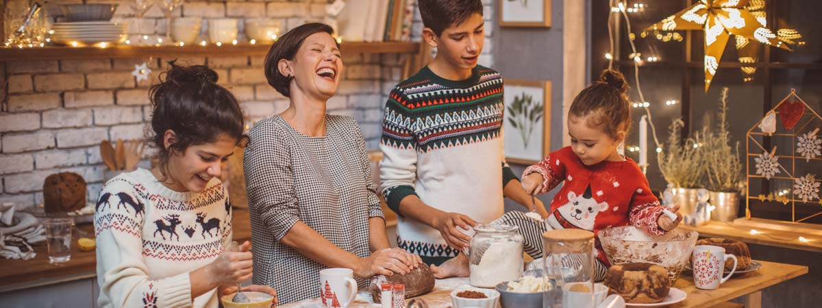Family baking for Christmas gifts to avoid debt